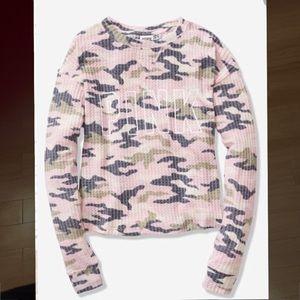 New in bag VS Pink camo waffle knit crop shirt